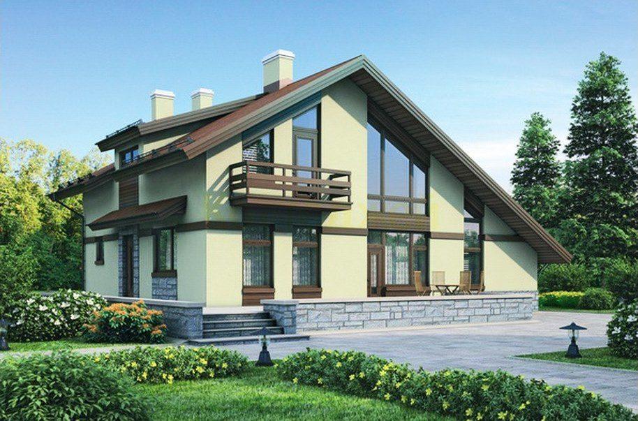 двухэтажные дома со скошенной крышей проекты фото печать фотографий
