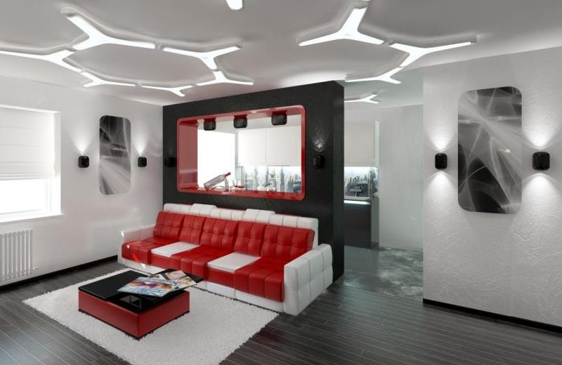 изайн интерьера квартиры в стиле Хай-Тек (Hi-Tech)