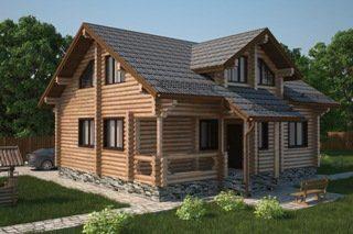 Проекты домов 6х7 из оцилиндрованного бревна в Санкт-Петербурге