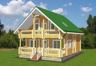 Проекты домов 8х9 из оцилиндрованного бревна в Санкт-Петербурге