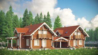 Дом из бревна на две семьи (дуплекс) в Санкт-Петербурге